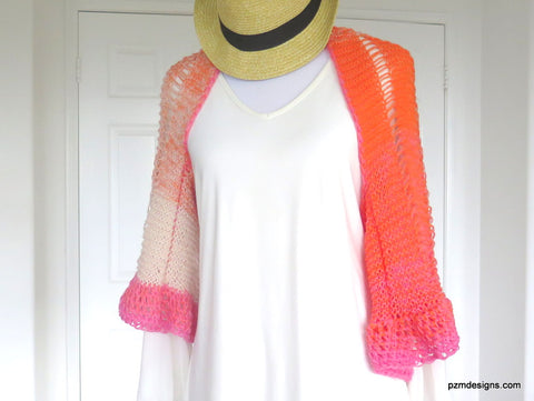 Orange and Pink Ombre Shrug, Hand Knit Boho Chic Trendy Shrug