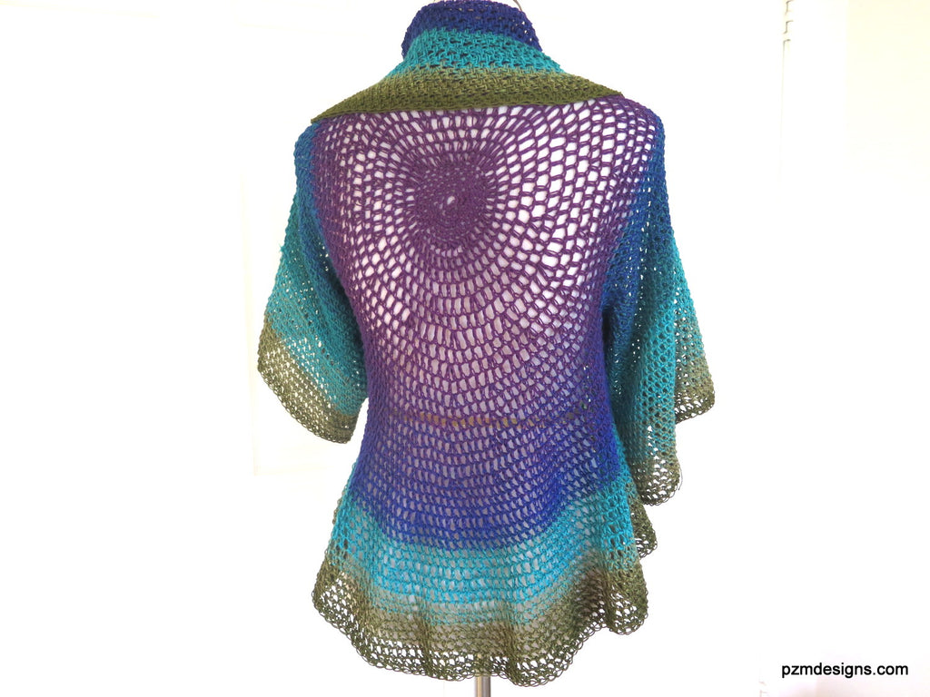 Peacock Colored Shrug, Hand Crochet Circle Shrug