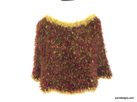 Fancy Sparkly Poncho, Brown and Gold Vegan Fur Crochet Wrap