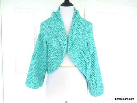 Aqua Plus Size Circle Shrug, Hand Crochet Gift for Her