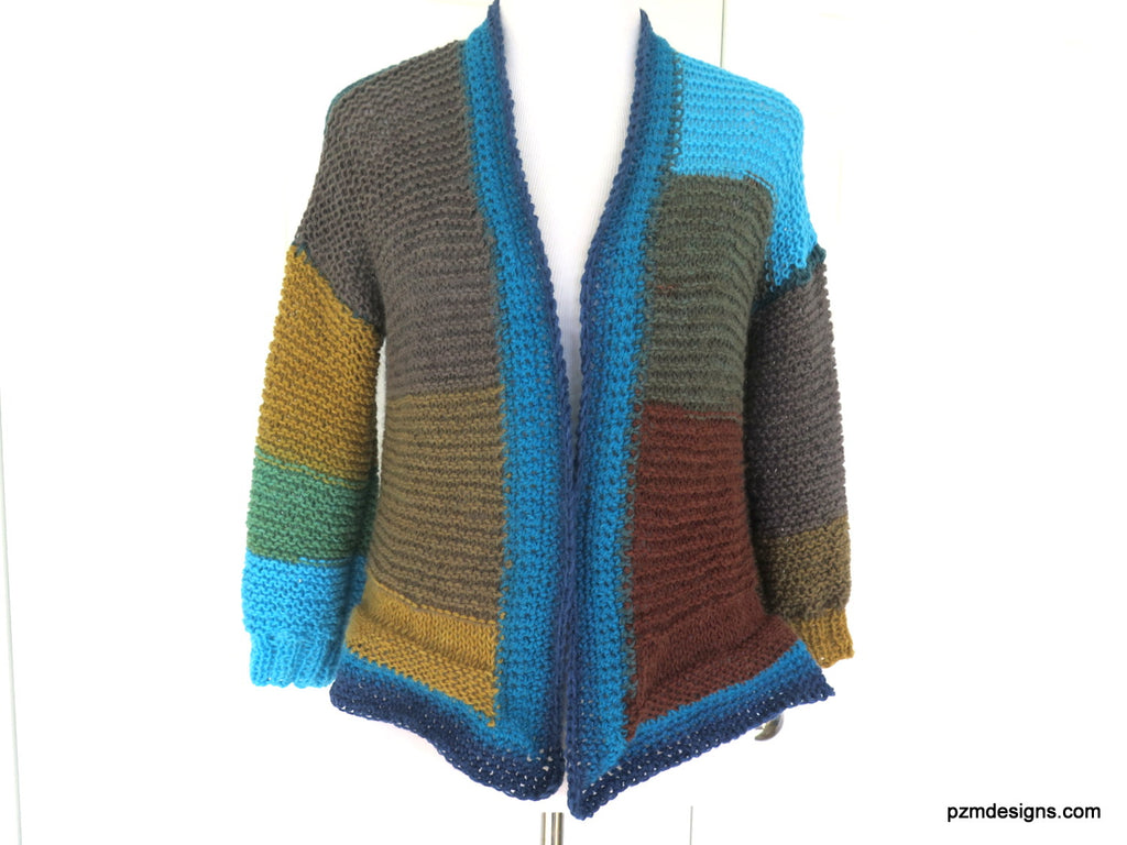 Large Color Block Hand Knit Cardigan, Trendy Knitwear