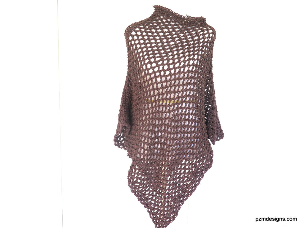 Brown Fishnet Poncho, Long Plus Size Crochet Poncho