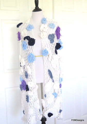 Large Crochet White Bridal Shawl with Flower Appliques
