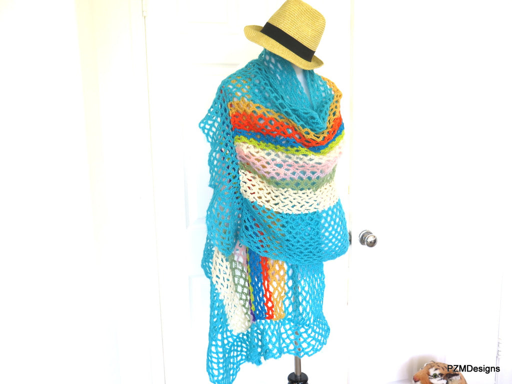 Colorful Hand Crochet Spring Shawl