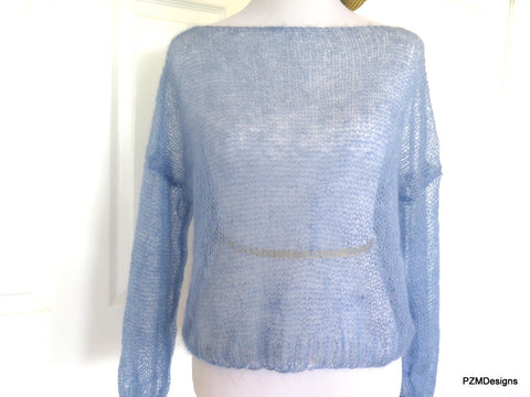 Light Blue Silk Mohair Pullover, Plus Size Hand Knit Boyfriend Sweater