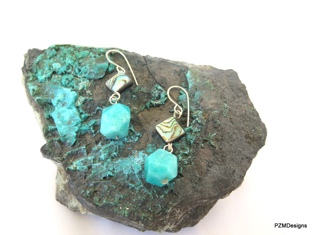 Abalone and Amazonite Drop Earrings, Gift for Her