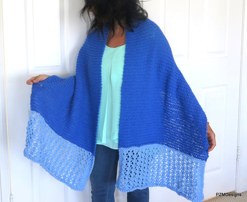 Blue Prayer Shawl, Handknit Shawl, Gift for Her