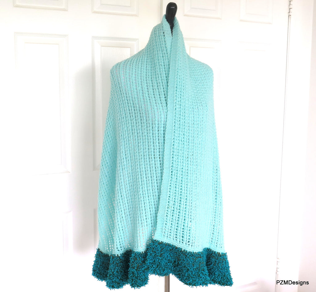 Extra Large Prayer Shawl, Mint Green Shawl, Gift for her