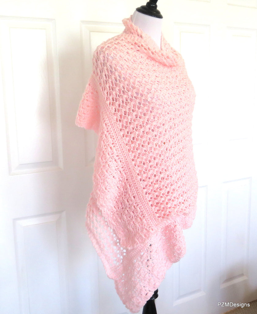 Pink Knit Lace Shawl, Bridal Shawl, Prayer Shawl