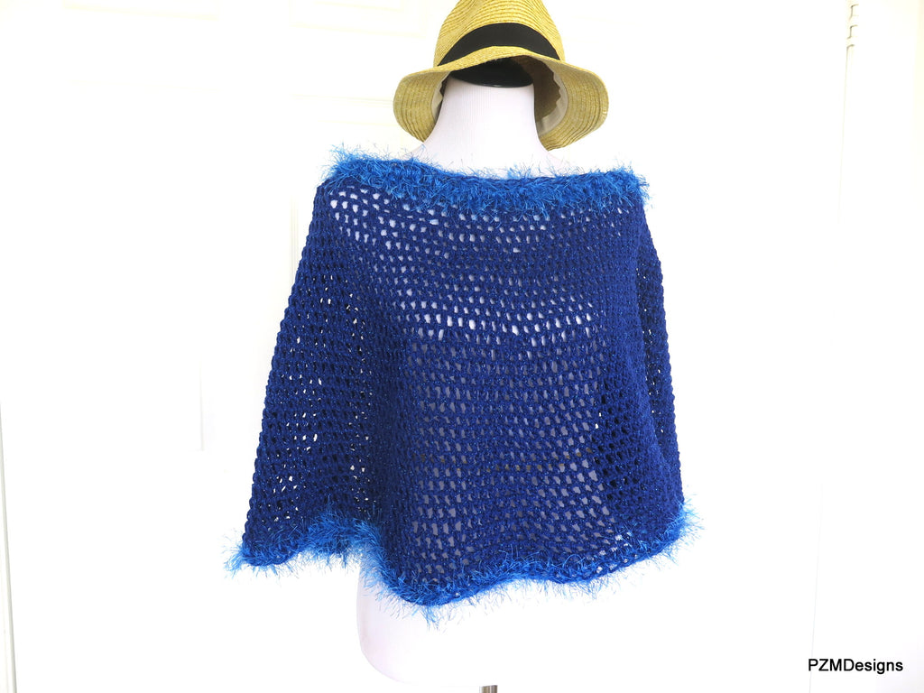 Royal Blue Short Crochet Poncho, Circle Poncho Gift for Her