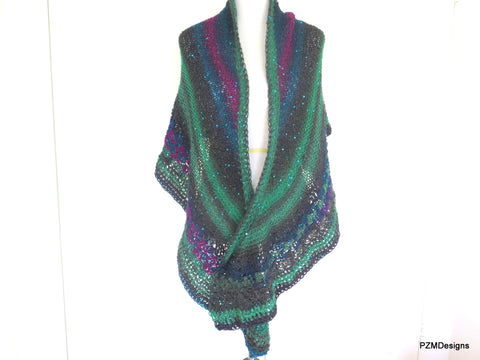 Peacock Color Triangle Shawl with Sequins, Gift for Her