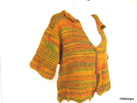 Plus Size Hand Knit Cardigan Sweater Shrug