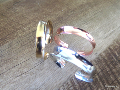 Set of three Anticlastic Bangles, Copper, Gold Brass and Silver Bangle Set