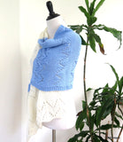 Hand Knit Meditation Shawl, Blue and Whte Prayer Shawl, Gift for her