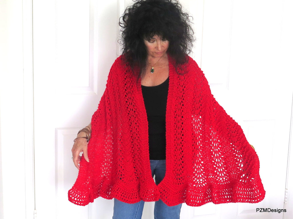 Red Hand Knit Lace Shawl, Red Prayer Shawl, Gift for Her