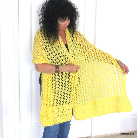 Yellow Lace Shawl, Hand Knit Prayer Shawl, Gift for Her