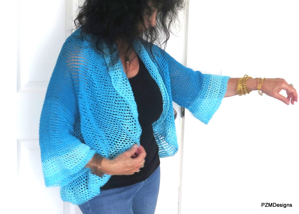 Blue Ombre Circle Shrug, Hand Crochet Plus Size Shrug