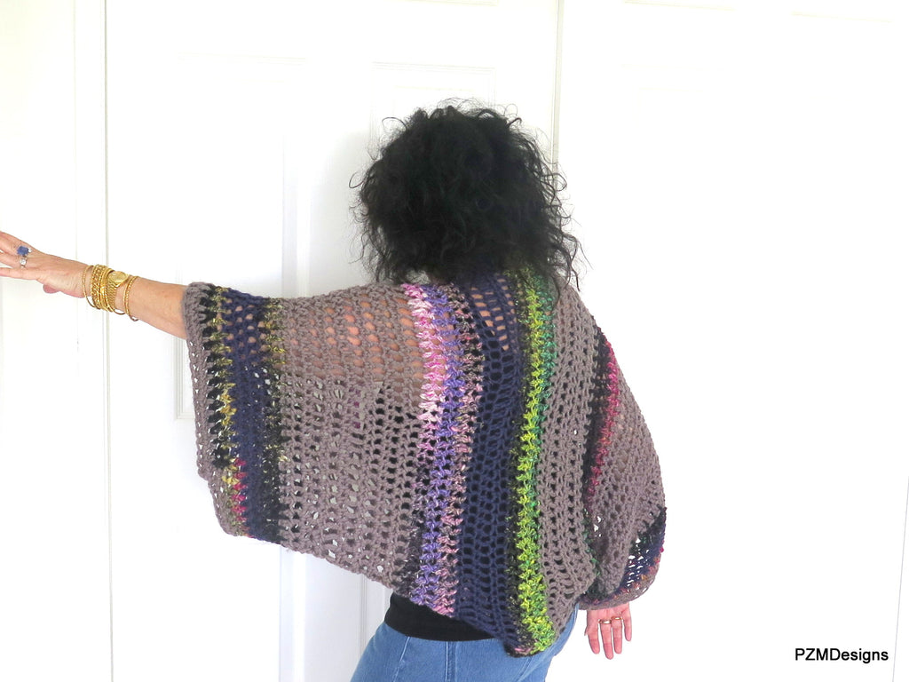Large Crochet Shrug, Plus Size Layering Sweater