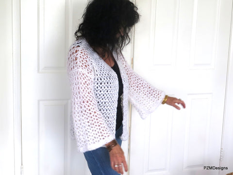 White Crochet Plus Size Sweater with Sequins, Gift for her