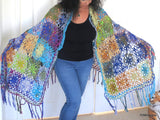 Luxury silk crochet Ruana shawl with fringe,  Hand Crochet Unique Shawl, gift for her
