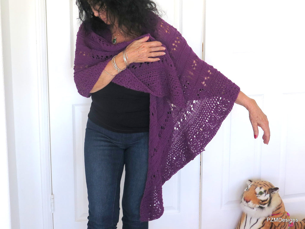 Plum Purple Hand Knit Triangle Shawl
