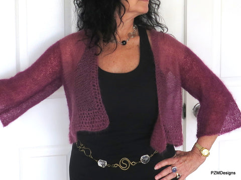 Plum Colored Ombre Silk Mohair Shrug, Knit Cropped Shrug