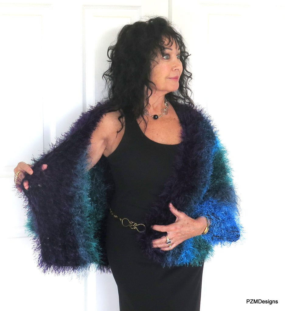 Blue Faux Fur Plus Size Jacket, Multi Color Blue Fur Shrug