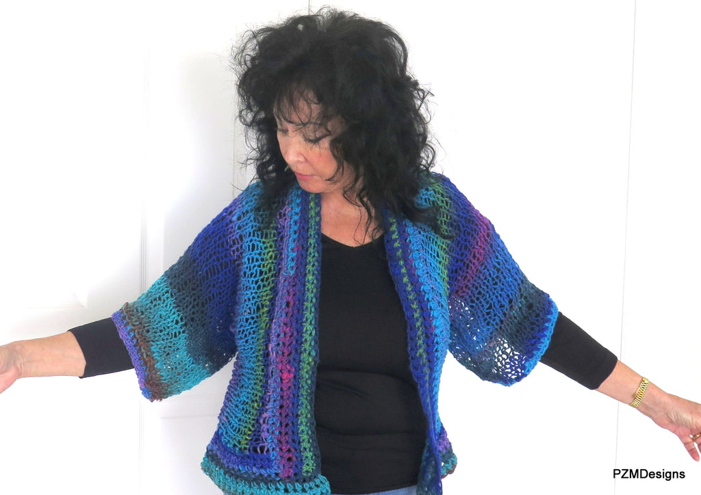 Blue Green Knit Noro Shrug, Luxury Hand Dyed Womens Sweater