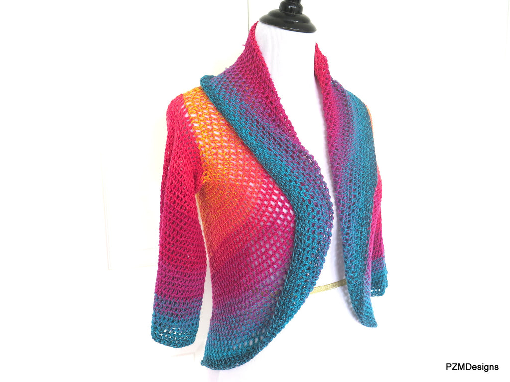 Extra Large Rainbow Crochet Circle Shrug