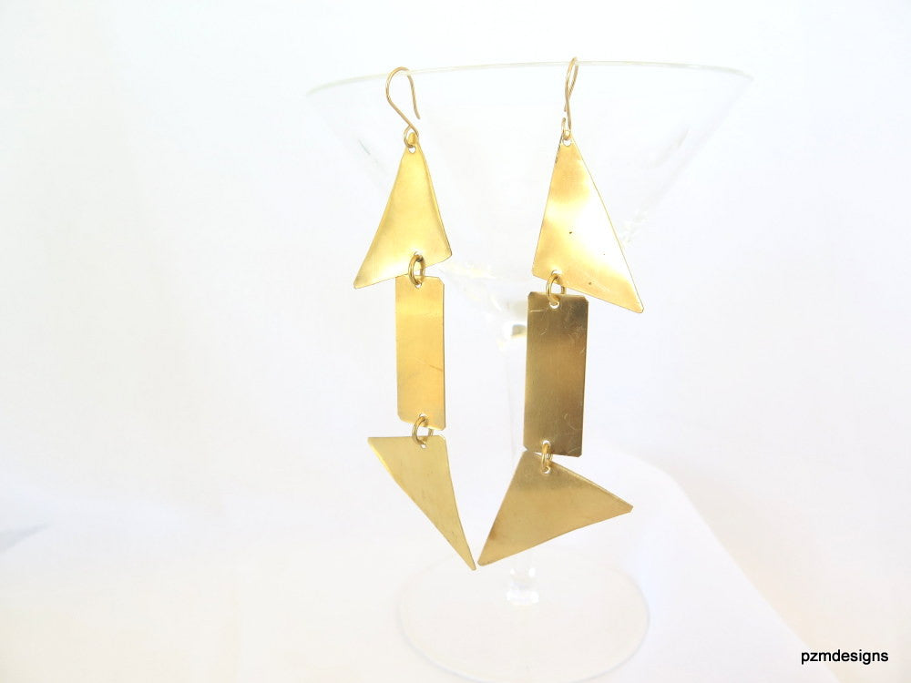 Long geometric earrings, gold triangle dangle earrings, minimalist modern brass earrings - PZM Designs