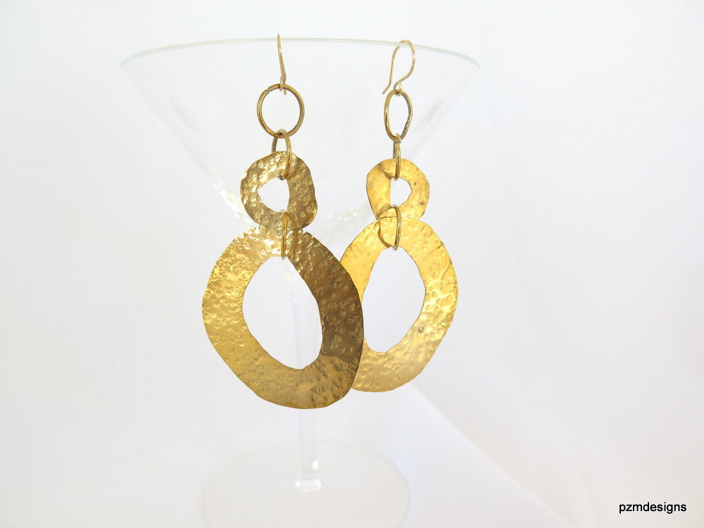 Long hammered earrings, double circle brass earrings, gold tribal hoop earrings