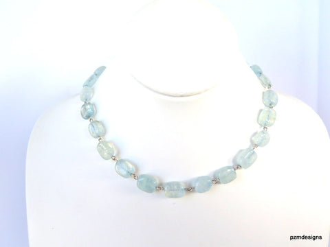 Aquamarine Gemstone Strand set in solid sterling silver, gift for her