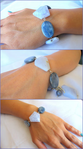 Blue Lace Agate Bracelet with Kyanite Accents