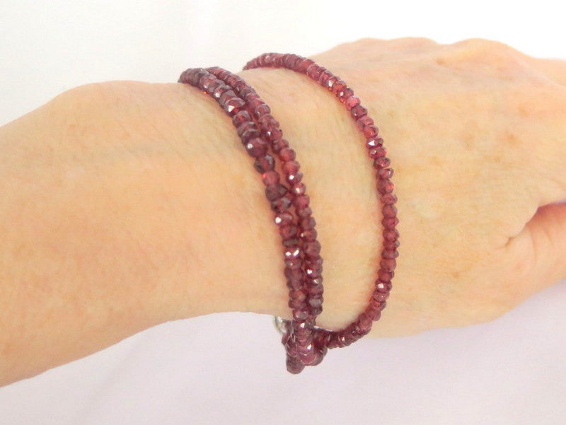 Three Strand Red Garnet Bracelet, gift for her - PZM Designs