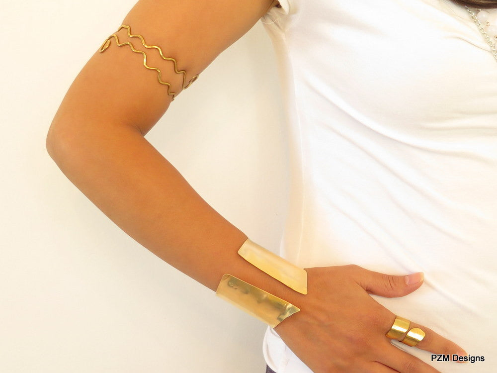 Brass Chevron Wrist Cuff, Gold Hand Formed Artisan Cuff - PZM Designs