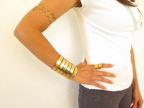 Formed Gold Wonder Woman Wide Cuff, Artisan Created Wonder Woman Cuff