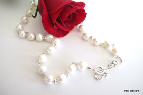 White Pearl Strand, Bridal Pearl Necklace