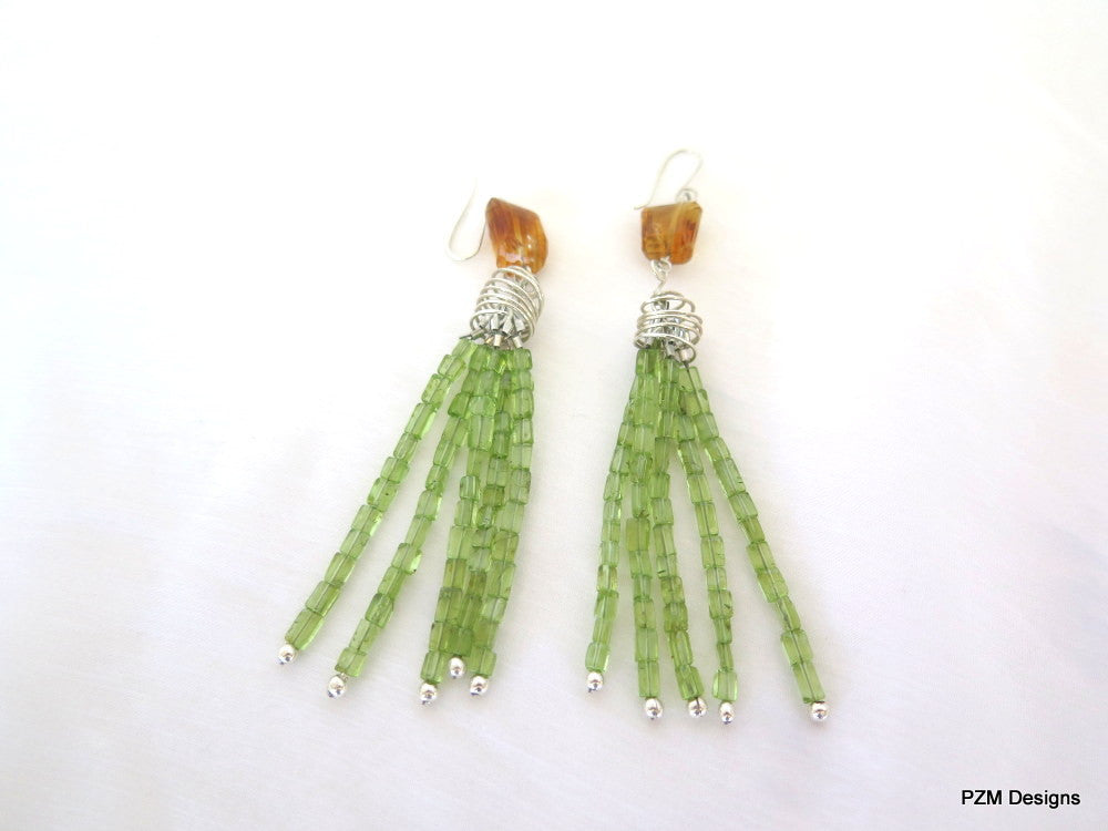 Long peridot tassel earrings with gold citrine accents, pzm designs fine jewelry - PZM Designs