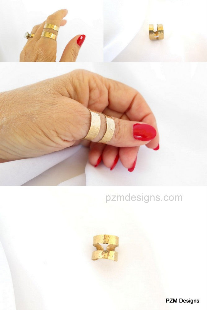 Gold thumb ring, hammered brass double band ring - PZM Designs