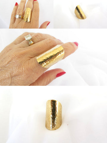 Gold shield ring, hammered brass adjustable ring, modern tribal jewelry