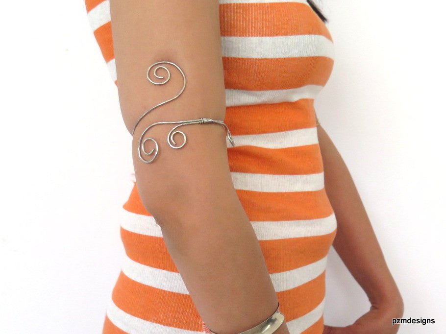 Silver Gypsy armlet, hammered above the elbow bracelet, modern tribal upper arm cuff - PZM Designs