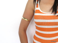 Upper arm cuff, gold tribal fusion armlet, hammered artisan armband