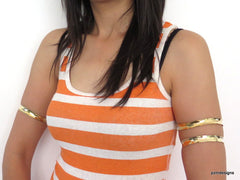 Upper arm cuff, gold tribal fusion armlet, hammered artisan armband - PZM Designs