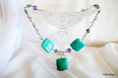 Amazonite and Fluorite Statement Necklace - PZM Designs