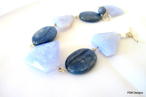 Blue Lace Agate Bracelet with Kyanite Accents, Gift for her