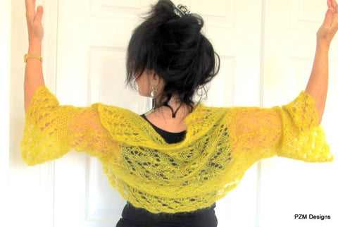 Marigold mohair sweater shrug, yellow silk and kid mohair hand knit luxury bolero cardigan