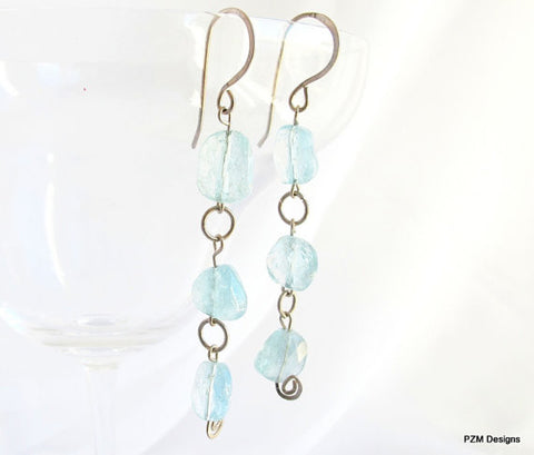 Aquarmarine Dangle Earrings, March Birthstone Earrings, Gift for Her