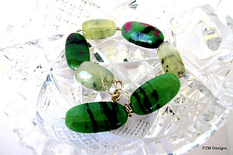 Ruby Zoisite Bracelet with Large Prehnites Set in Sterling Silver