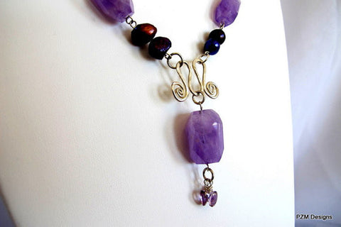 Amethyst and Pearl  Statement Handmade Necklace, birthstone gift for her