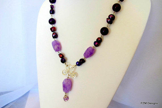 Amethyst Statement Necklace with Pearls, Gift for Her